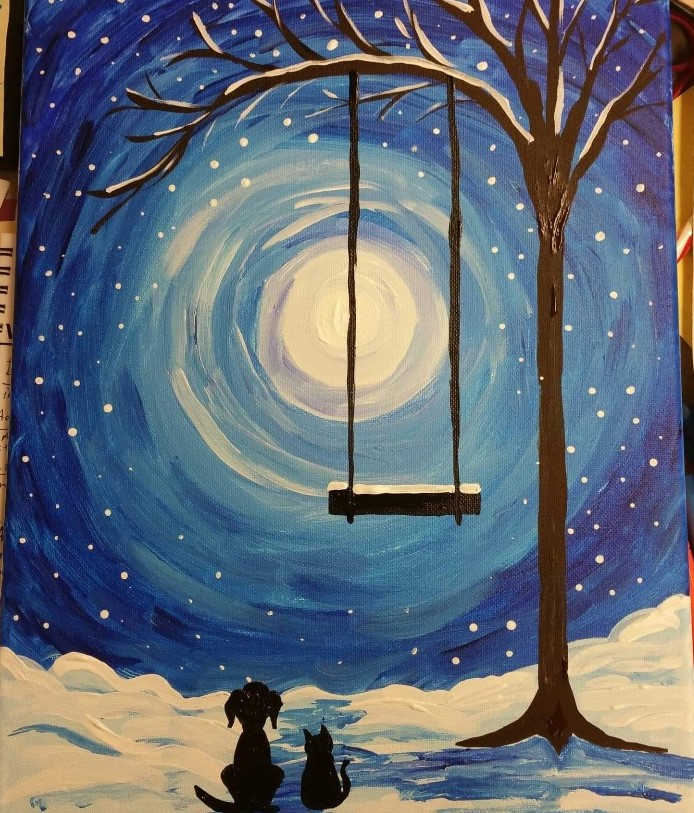 Winter Moonlight Sip And Paint Sizzle